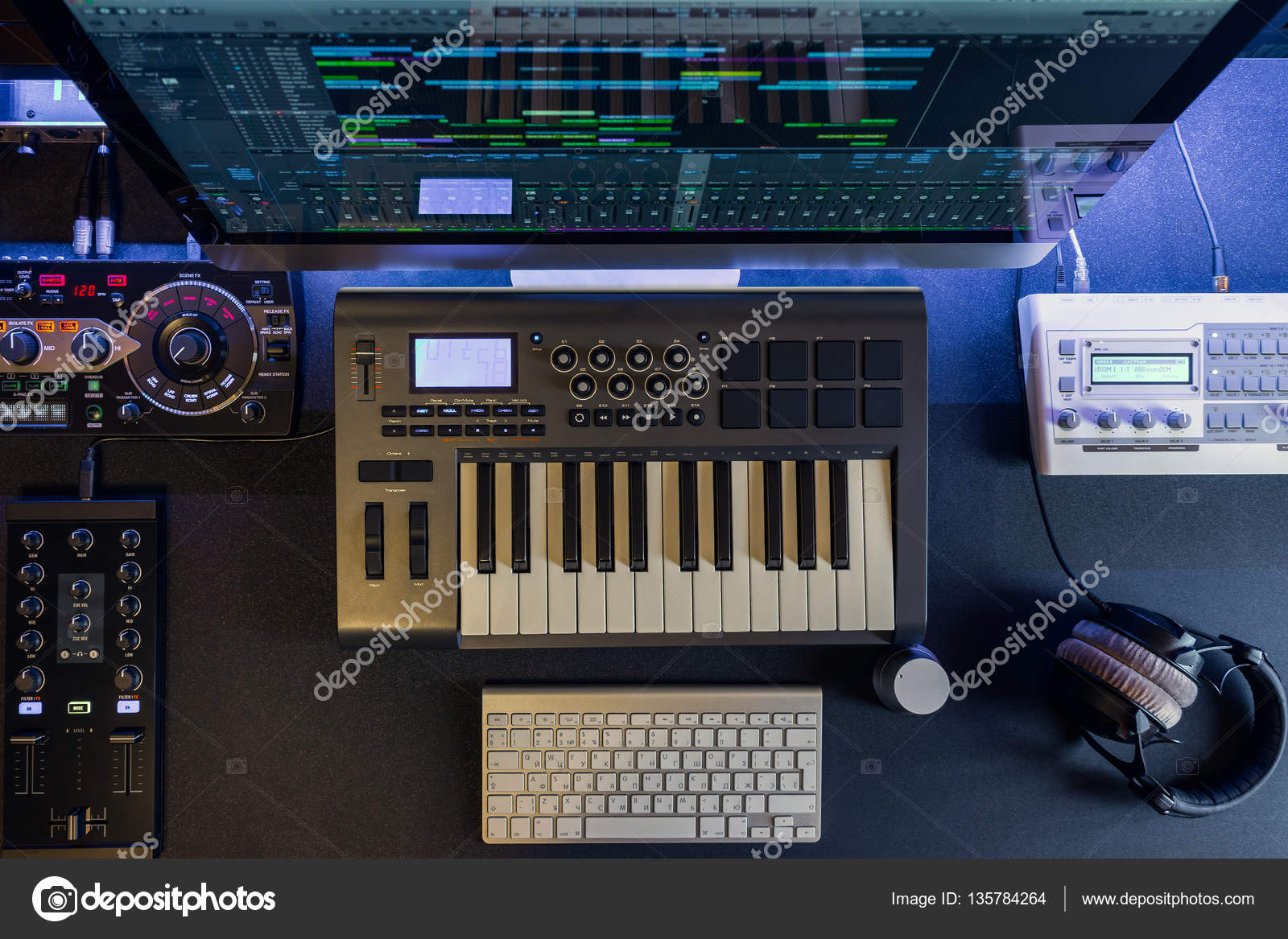 Flat Lay Home Music Studio Dj And Producer Equipment Stock Photo