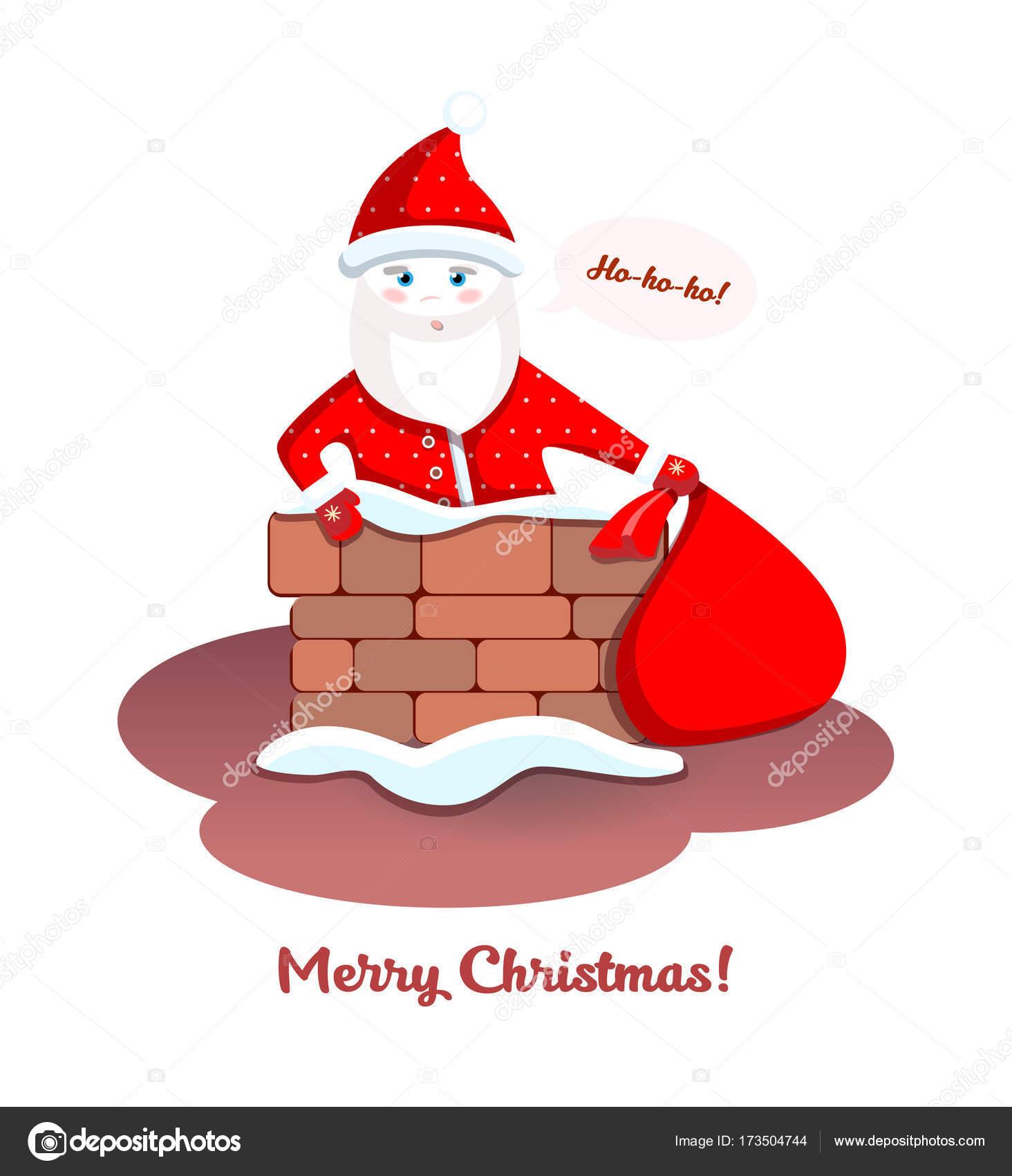 Babbo Natale Ho Ho Ho.Babbo Natale Sul Tetto Buon Natale Ho Ho Ho Vettoriali Stock