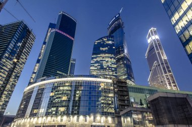 Modern district Moscow-City at dusk in 21 January 2015