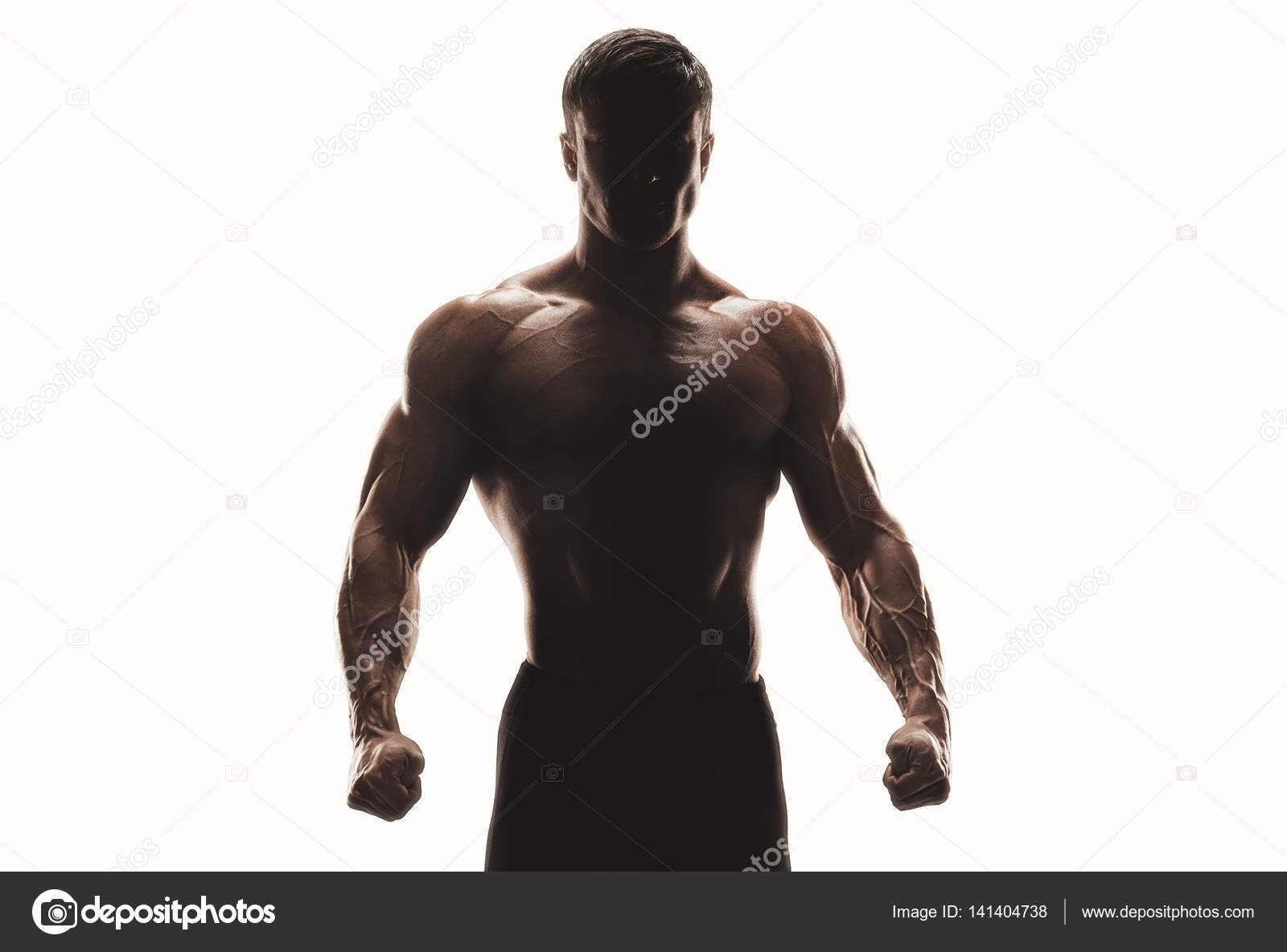 Dark Silhouette Of A Strong Man On White Background Confident Young Fitness With Hands And Clenched Fists Clipping Path Inside Photo By