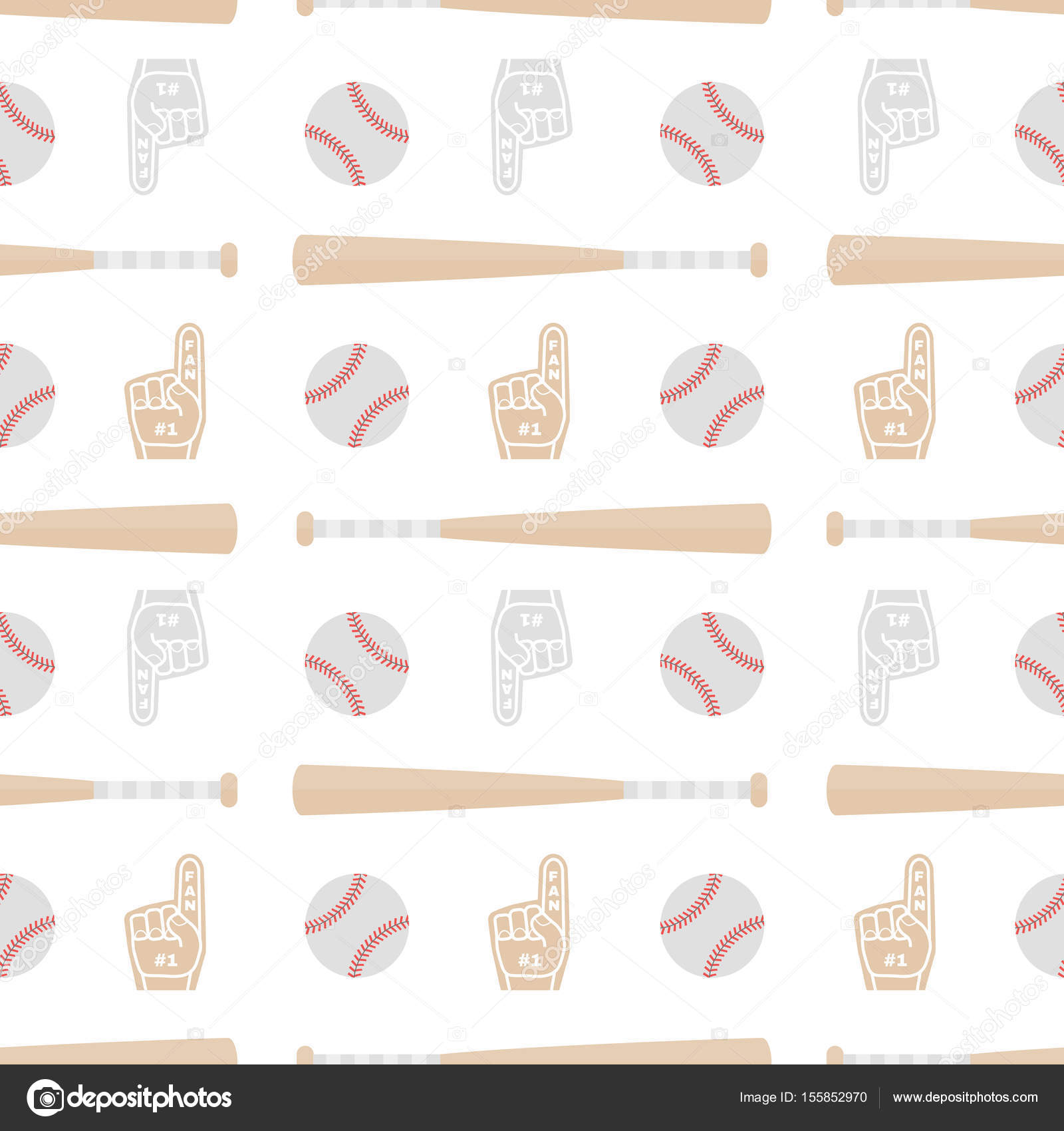 Patrón sin fisuras con bates de béisbol, pelotas y guantes. Bueno ...