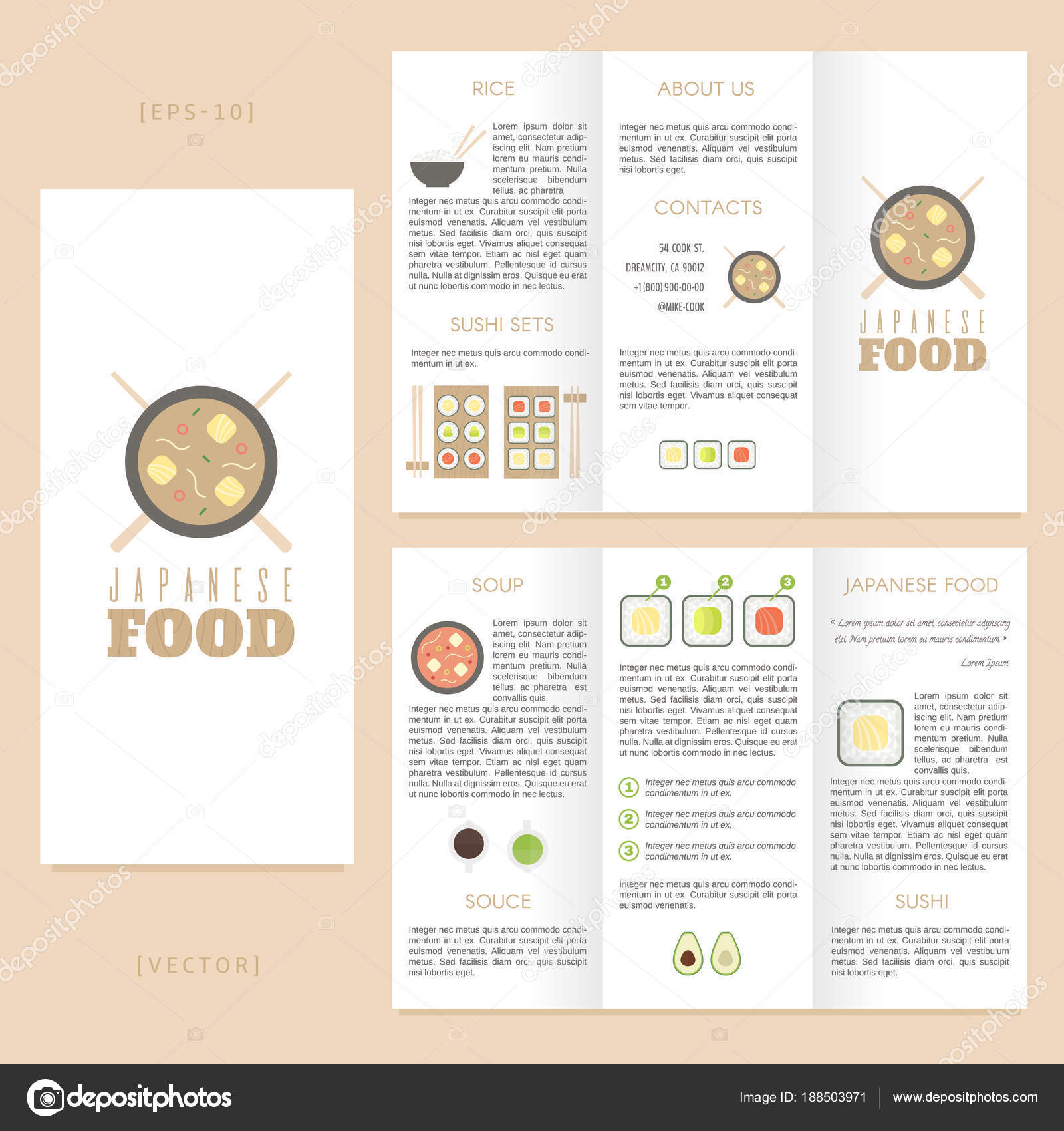 tri fold japanese food brochure template good for advertising and
