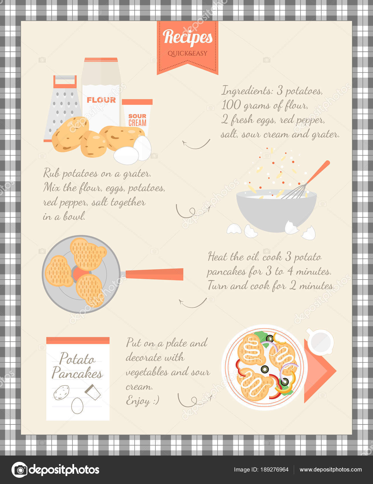 Home Cooking Recipe. Cooking potato pancakes, step by step
