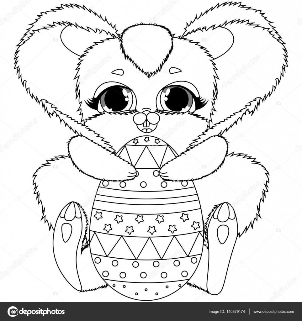 vector para colorear conejito de Pascua y huevos de colores, animal ...