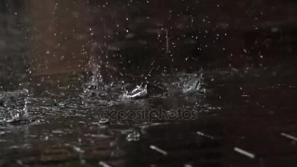 Drops of Rain Fall on the Sidewalk  Drops of rain fall from the roof onto a  granite paving slab  Filmed at a speed of 240fps