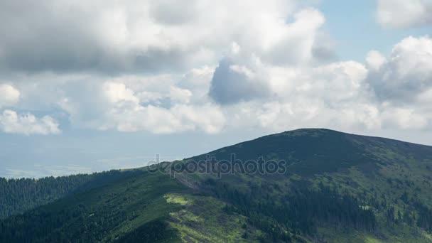 Časová prodleva dramatické léto mraků a oblohy v magické zelené hory