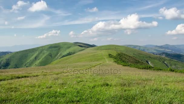 Klidný slunečný den v zelené horské louky s modrou oblohu a bílé mraky časová prodleva