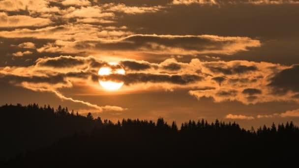 Pomerančová obloha se sluncem a mraky pohybující se při západu slunce nad lesem