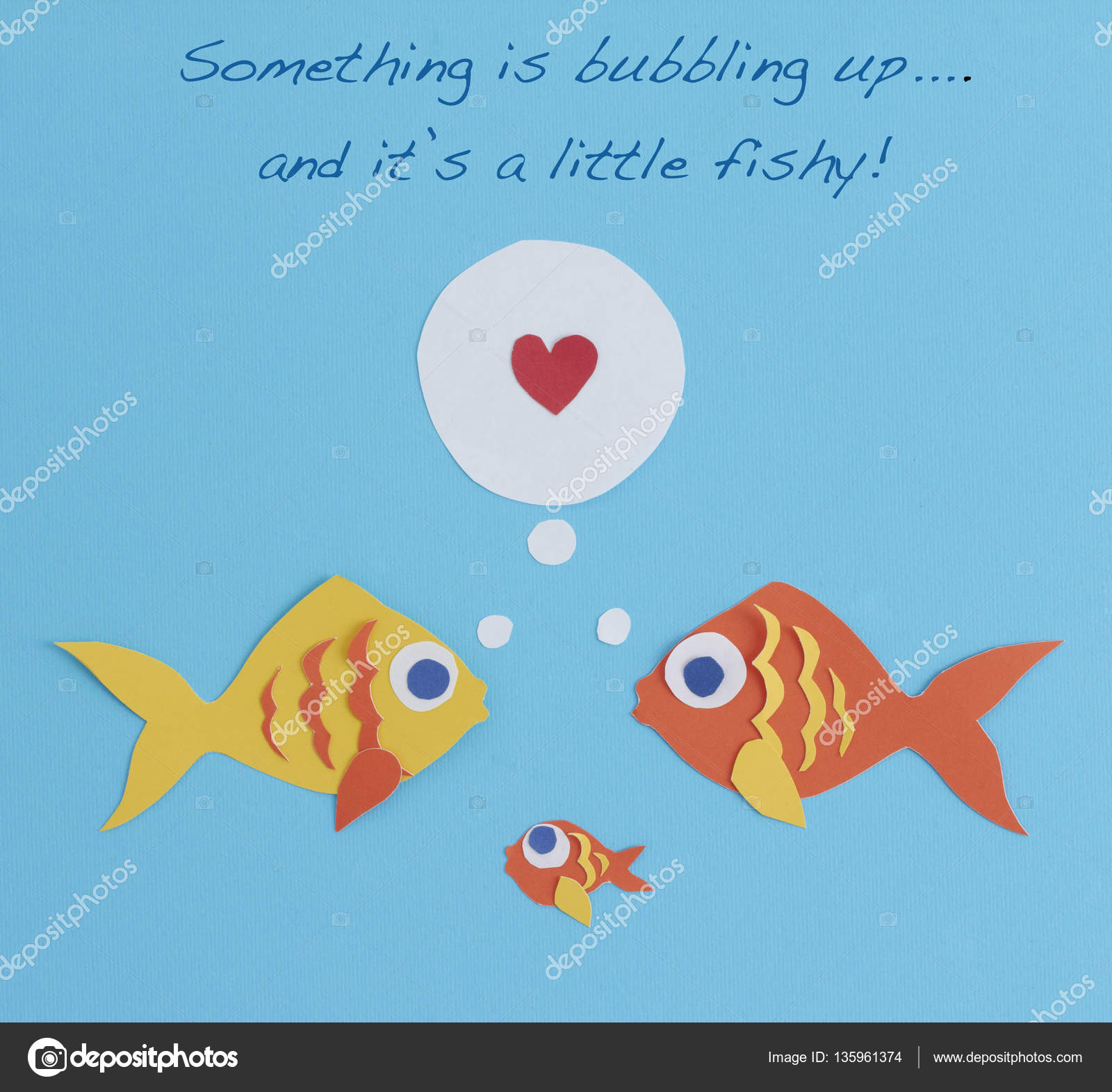 a paper fish couple has a new addition to the family a baby fish the fish couple have feelings of love toward their new baby the words something is