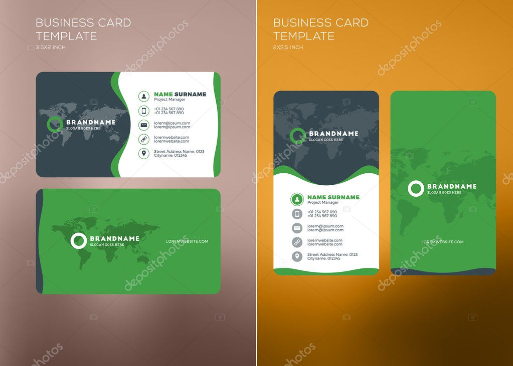 Corporate business card print template vertical and horizontal corporate business card print template personal visiting card with company logo vertical and horizontal business card templates reheart Choice Image