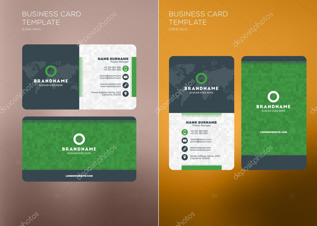 Corporate Business Card Print Template Vertical And Horizontal - Horizontal business card template
