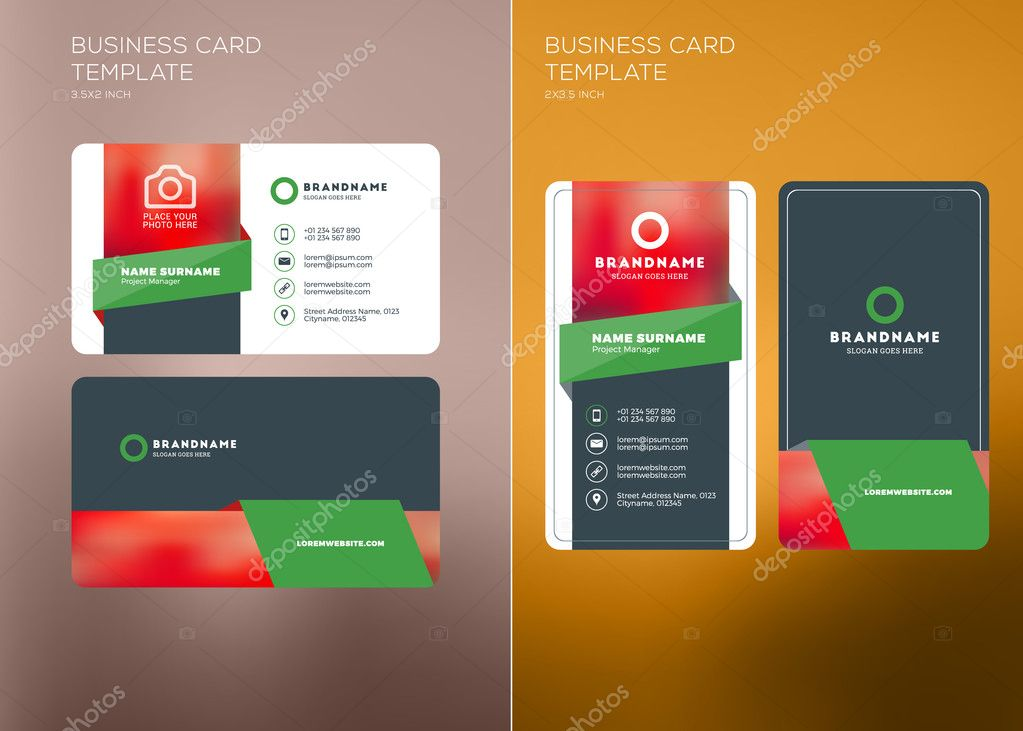 Corporate business card print template vertical and horizontal corporate business card print template personal visiting card with company logo vertical and horizontal business card templates flashek Images