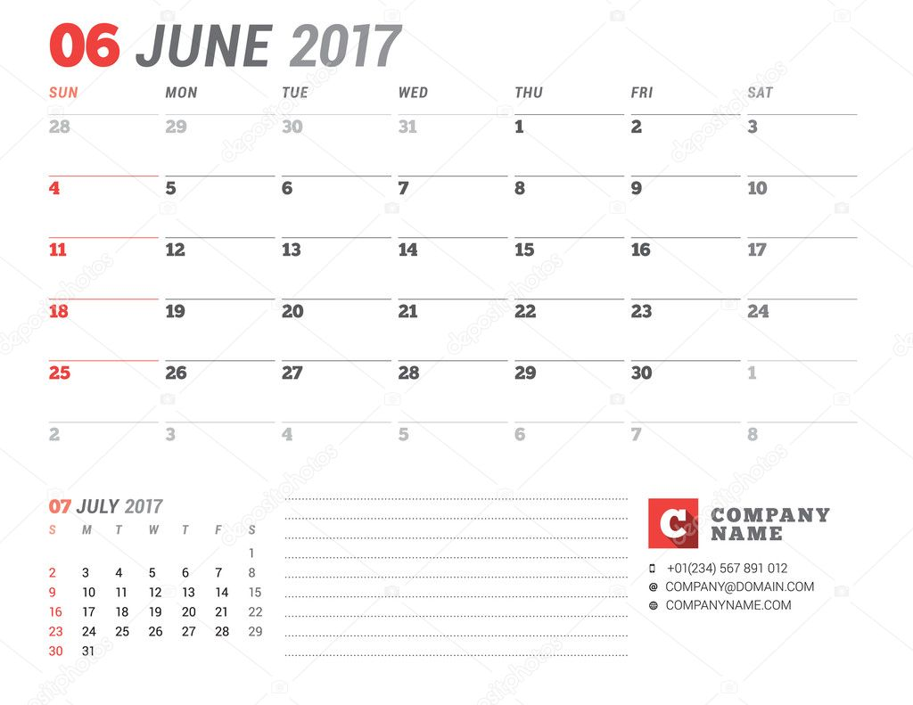 calendar template for 2017 year june business planner 2017