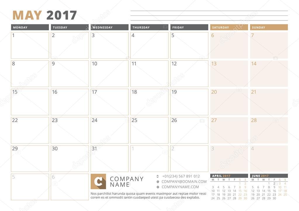 Kalendervorlage für 2017 Jahr. Mai. Business Planner 2017 Vorlage ...