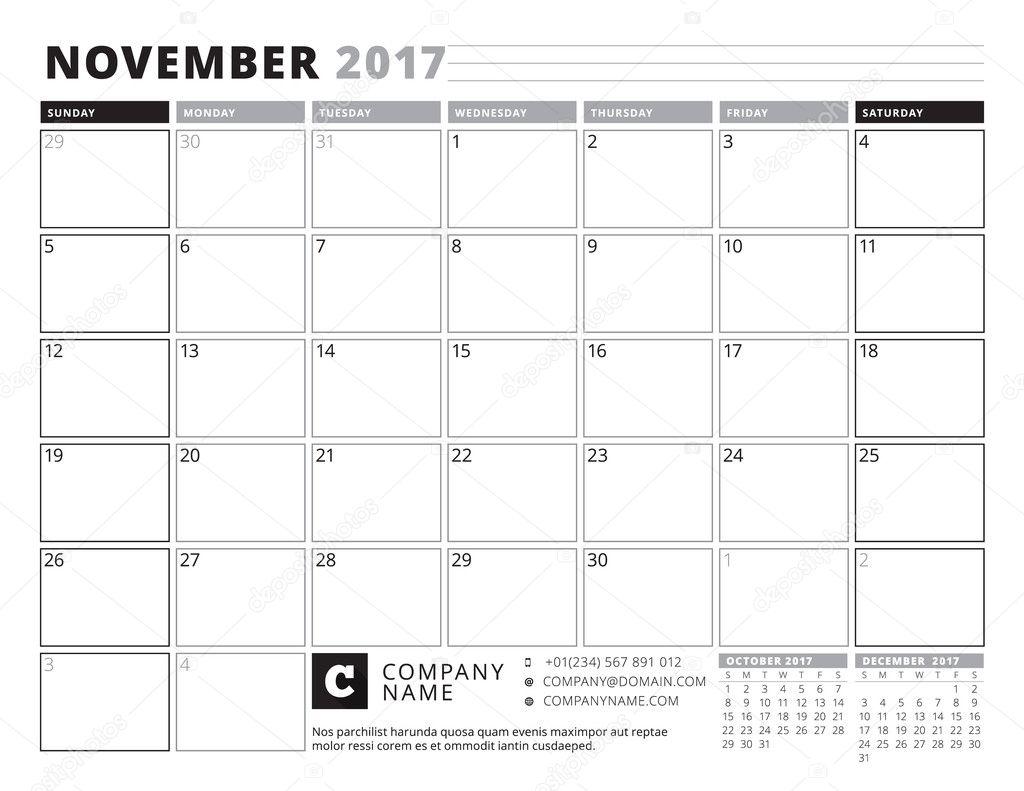 November 2017. Calendar Planner for 2017 Year. Week Starts Sunday ...
