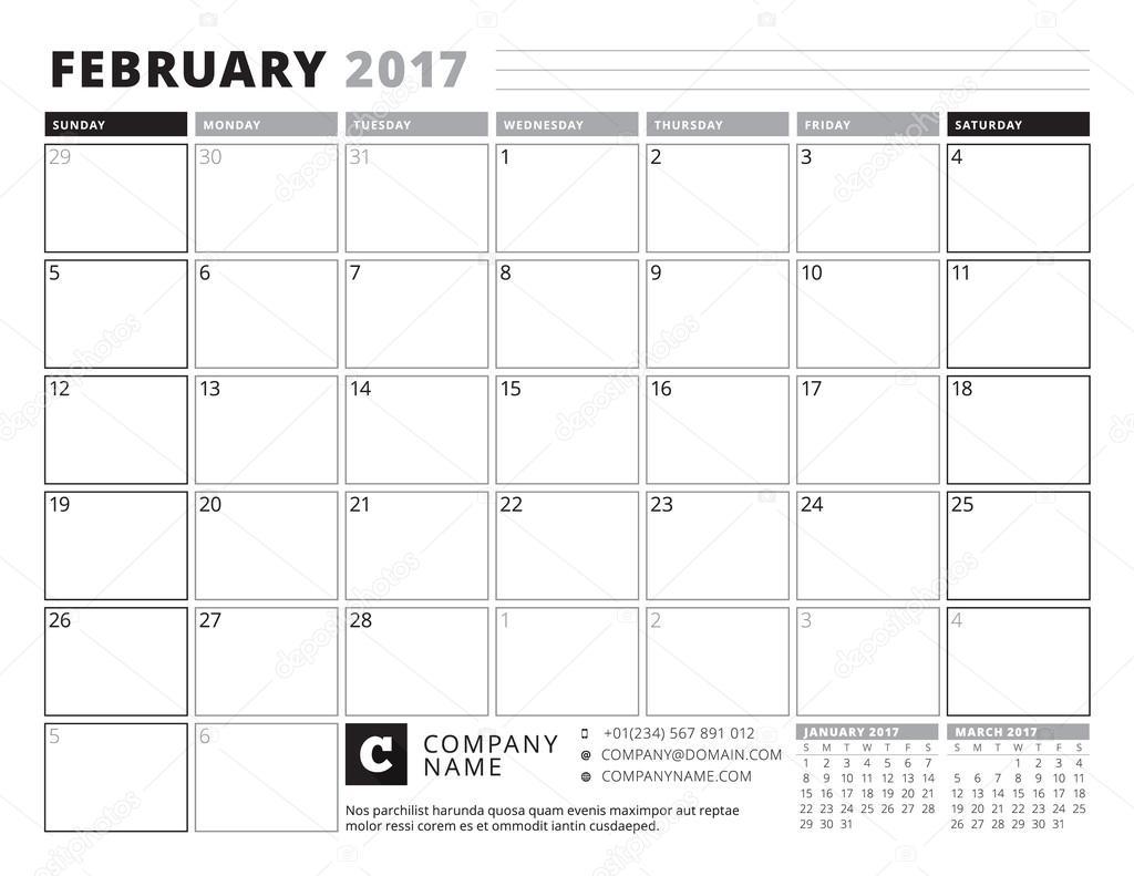 Februar 2017. Kalender Planer für 2017 Jahr. Woche beginnt Sonntag ...