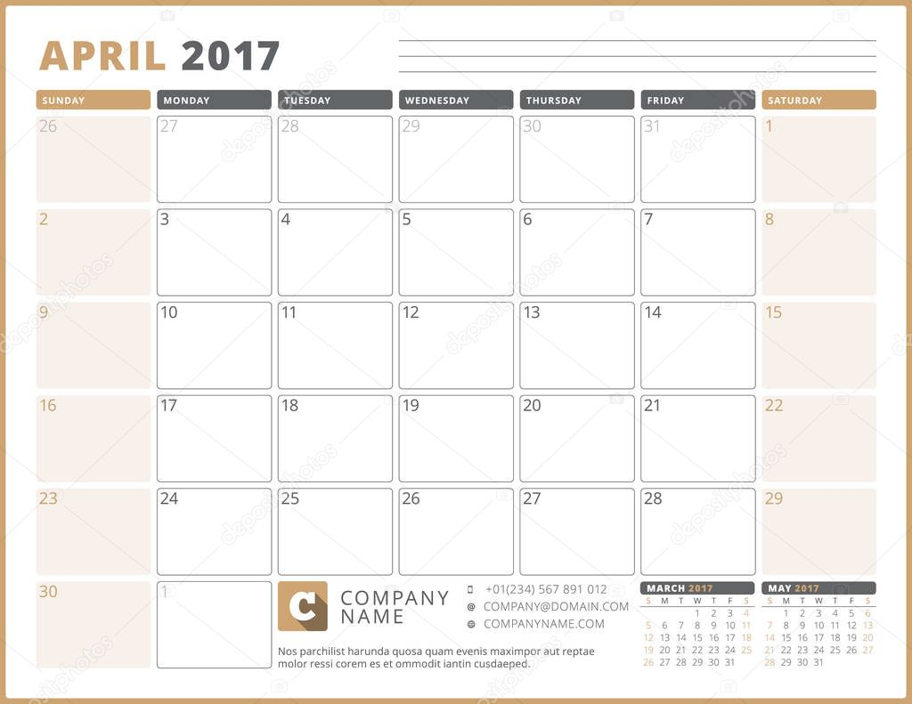 Kalendervorlage für 2017 Jahr. April. Business Planner 2017 Vorlage ...