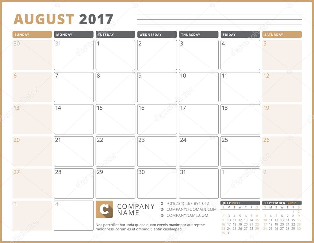 Calendar Template for 2017 Year August Business Planner 2017 – 3 Week Calendar Template