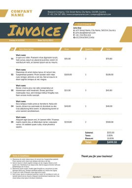Business invoice template. Stationery design. Vector illustration. Invoice form. Golden and black color theme