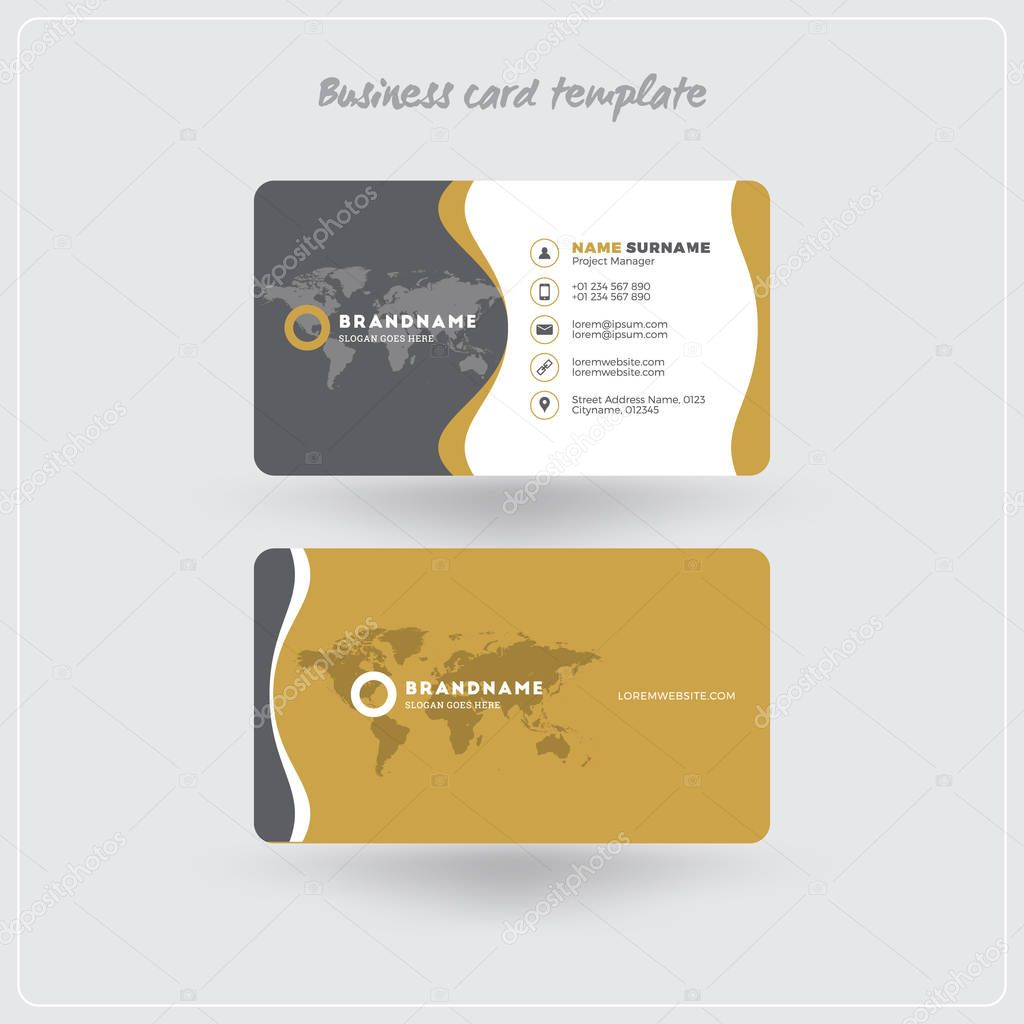 Golden and gray business card print template personal visiting card golden and gray business card print template personal visiting card with company logo clean flat design rounded corners vector illustration flashek Gallery