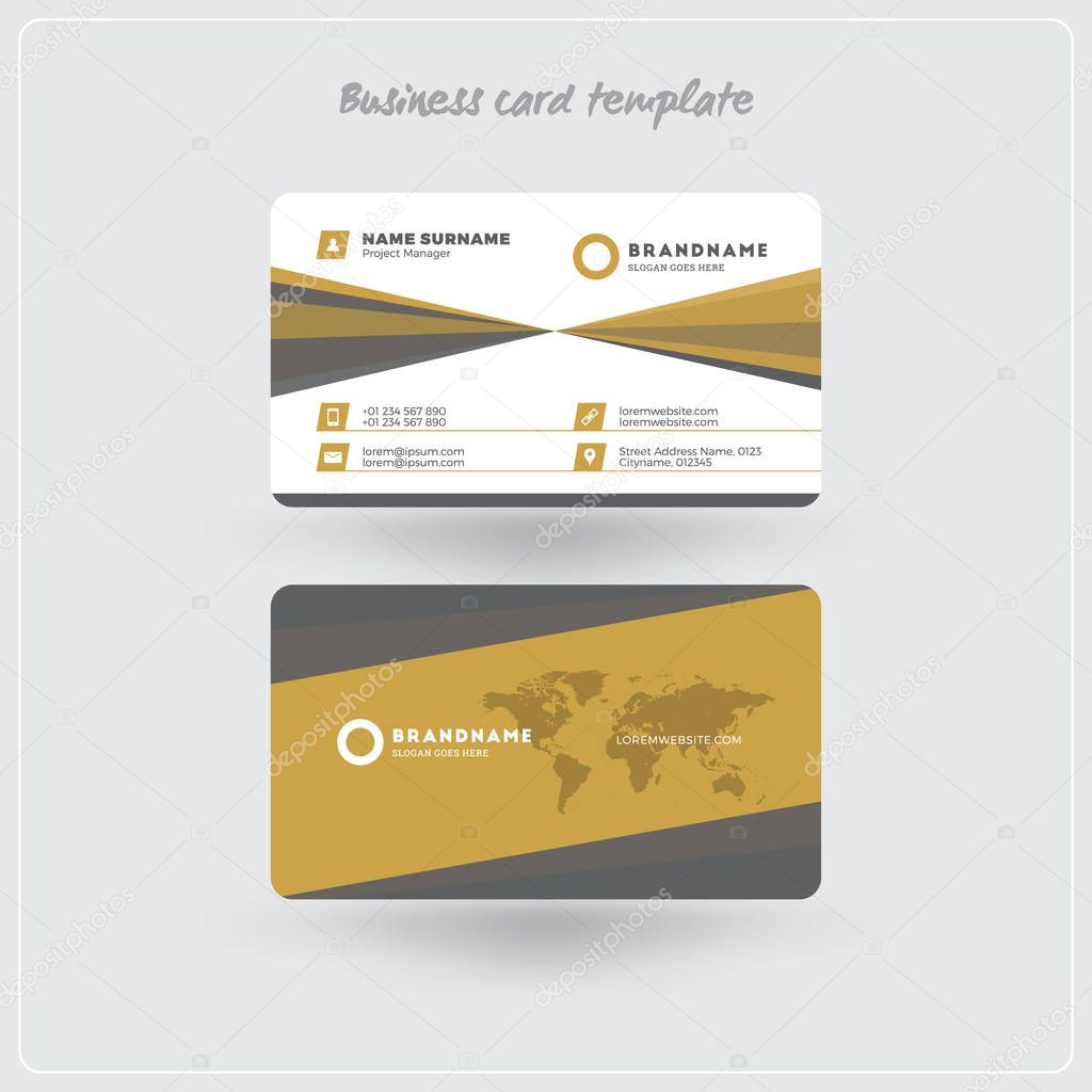 Golden and gray business card print template personal visiting card golden and gray business card print template personal visiting card with company logo clean flat design rounded corners vector illustration cheaphphosting Image collections