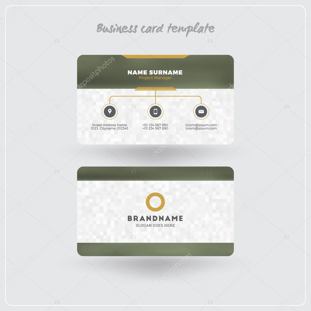 Golden and gray business card print template personal visiting card golden and gray business card print template personal visiting card with company logo clean flat design rounded corners vector illustration reheart Choice Image