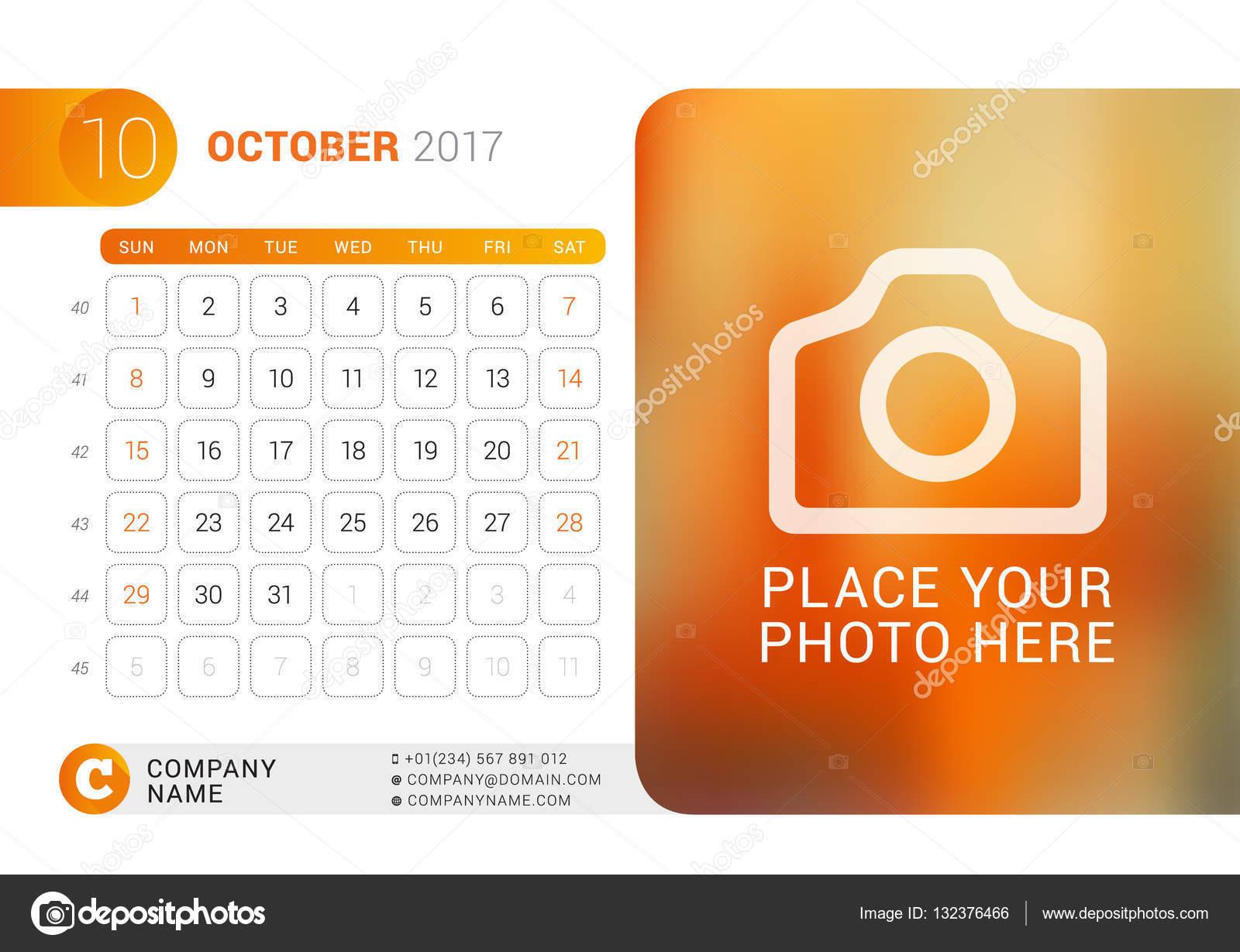 Tischkalender für das Jahr 2017. Oktober. Vector Design drucken ...