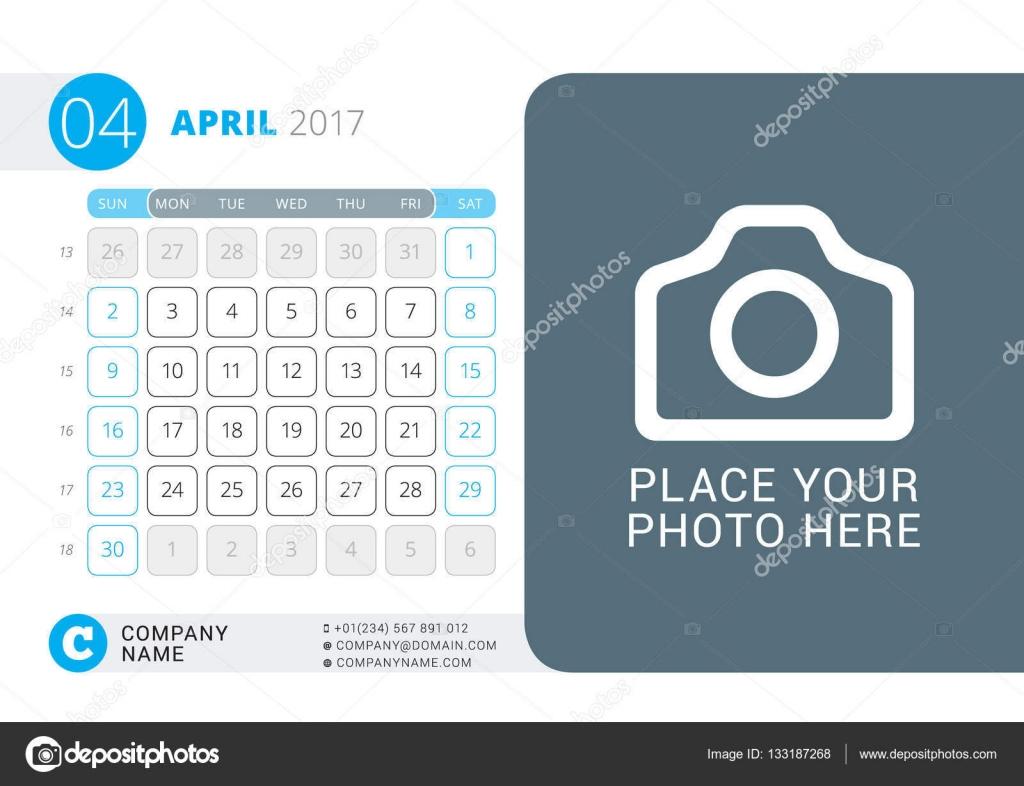 Calendário para o ano de 2017. Abril. Vector Design impressão modelo com  lugar para foto, logotipo e informações de contato. Semana começa no  domingo.
