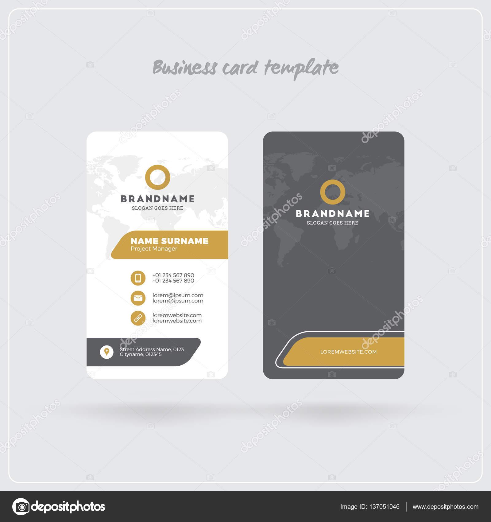 Carte De Visite Verticale Gris Et Or Personnelle Recto Verso Avec Le Logo Lentreprise Design Propre Plat Coins Arrondis