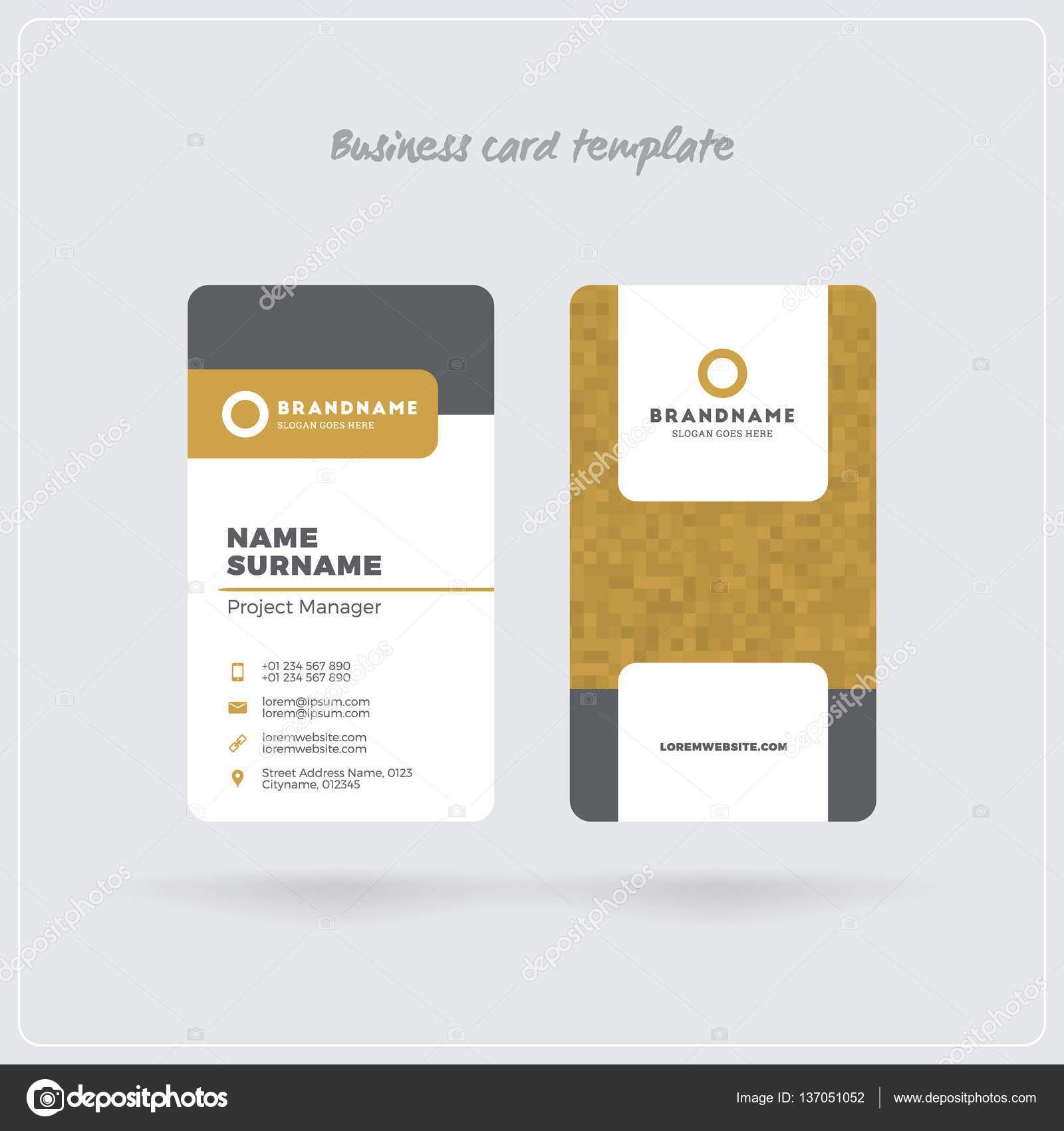 Golden and gray vertical business card print template double sided golden and gray vertical business card print template double sided personal visiting card with fbccfo Choice Image