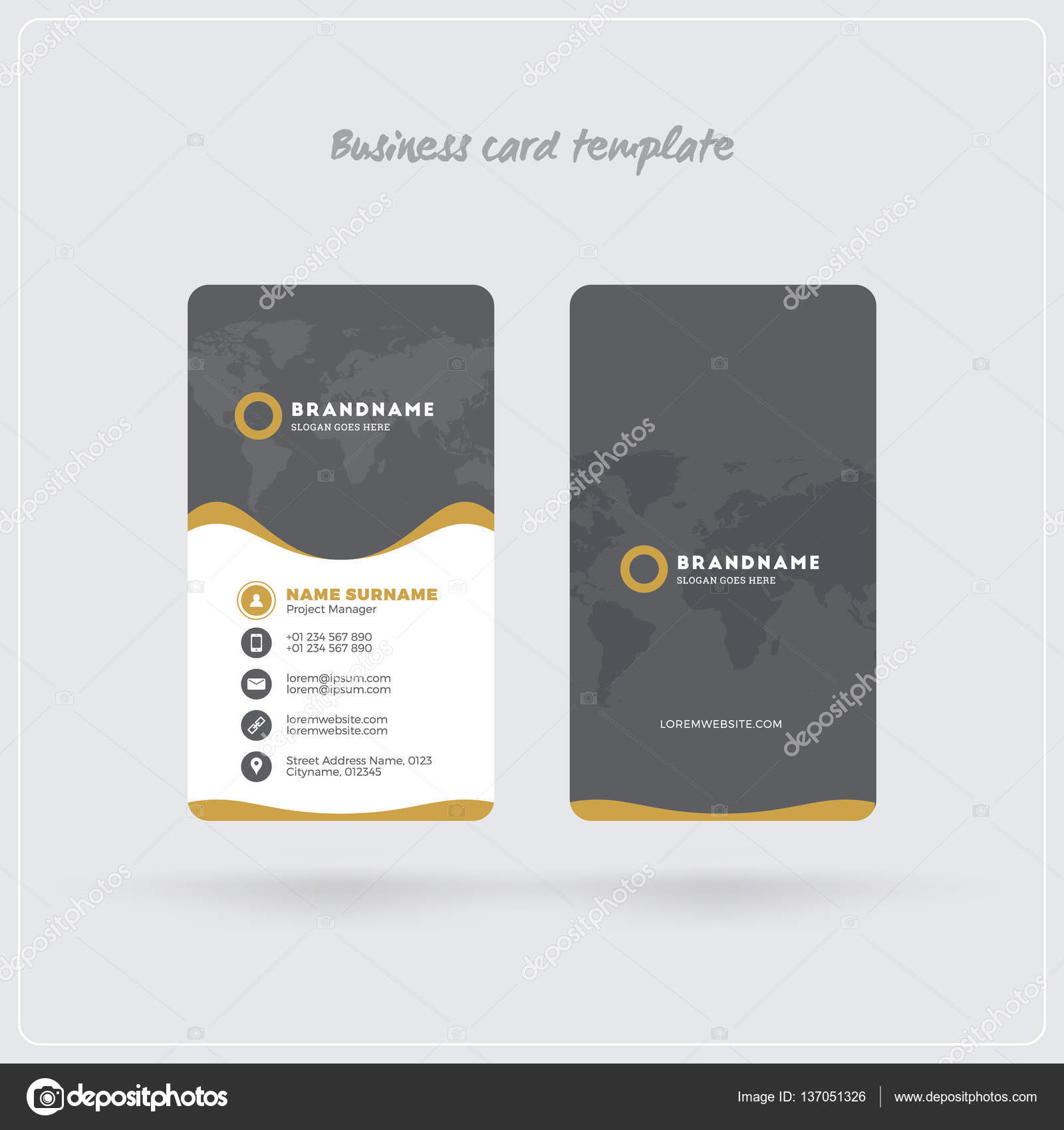 Golden and gray vertical business card print template double sided golden and gray vertical business card print template double sided personal visiting card with reheart Image collections