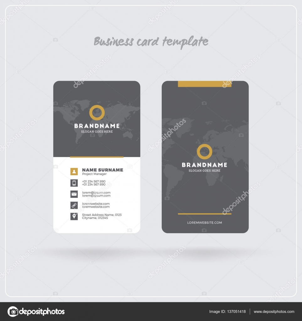 golden and gray vertical business card print template double