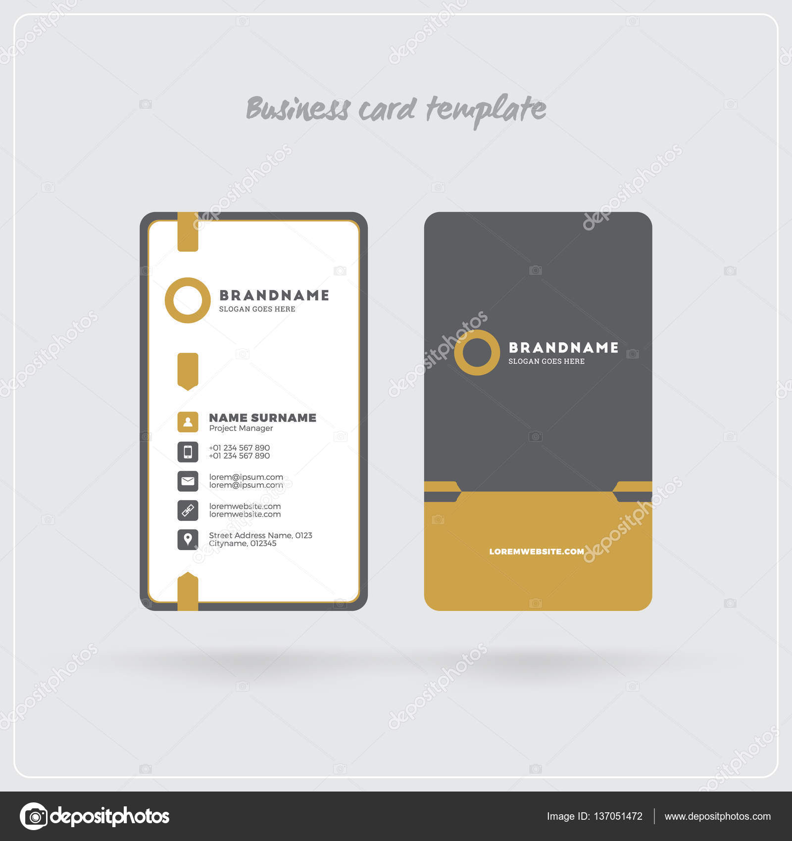 Golden and gray vertical business card print template double sided golden and gray vertical business card print template double sided personal visiting card with company logo clean flat design rounded corners fbccfo