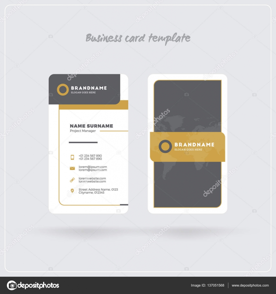 Golden and gray vertical business card print template double sided golden and gray vertical business card print template double sided personal visiting card with colourmoves Gallery