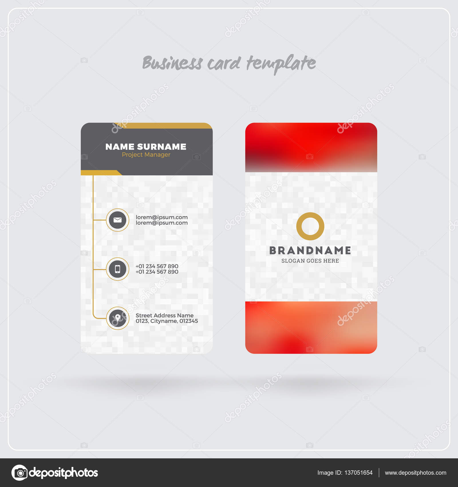 Golden and gray vertical business card print template double sided golden and gray vertical business card print template double sided personal visiting card with company logo clean flat design rounded corners reheart Images
