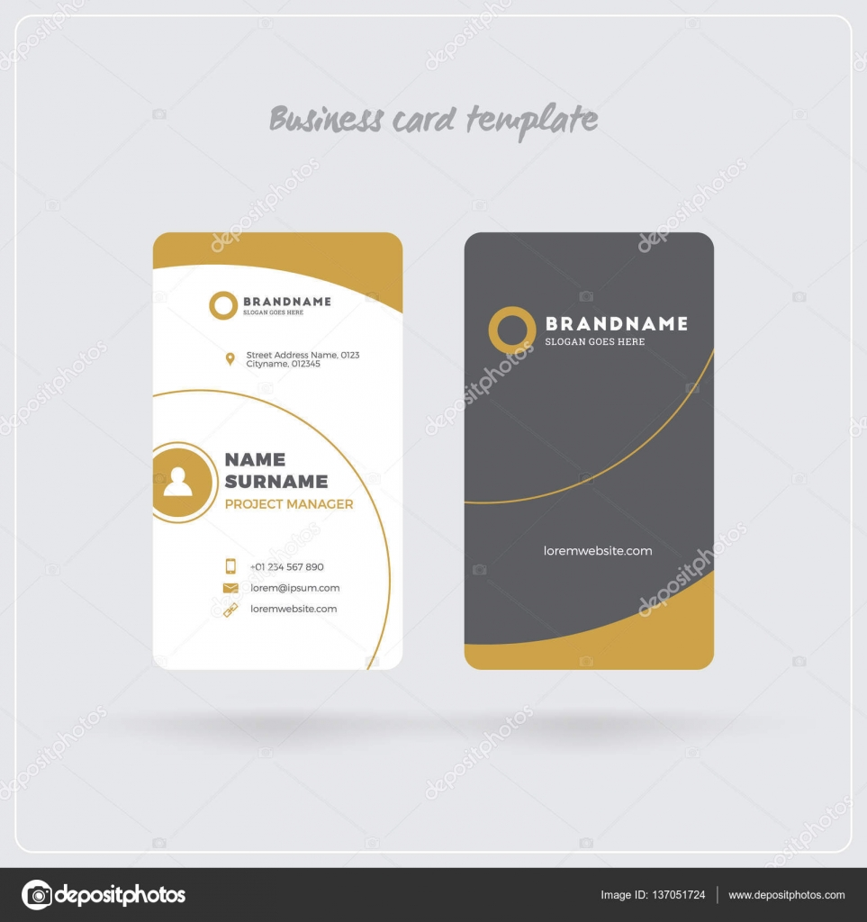 Golden And Gray Vertical Business Card Print Template Doublesided - Business card print out template
