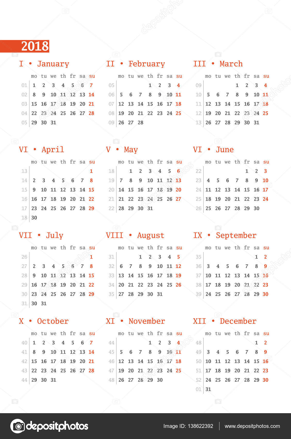 kalender voor 2018 jaar met weeknummers op witte achtergrond. print