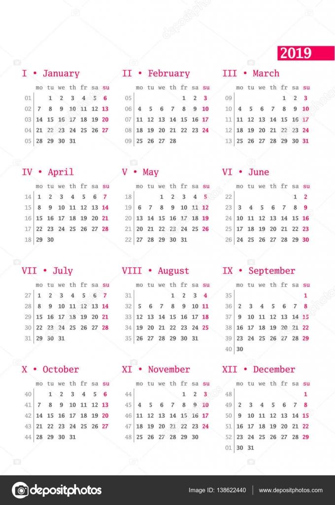 Calendario Con Numero Settimane.Calendario Per L Anno 2019 Con Numeri Di Settimana Su