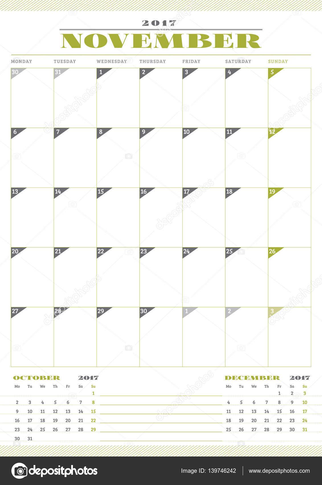 Kalendervorlage für 2017 Jahr. November. Business Planner Temp ...