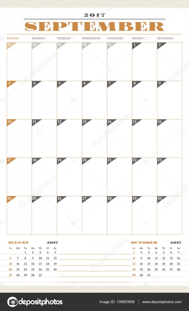 Calendar Template for 2017 Year. September. Retro Business Planner ...