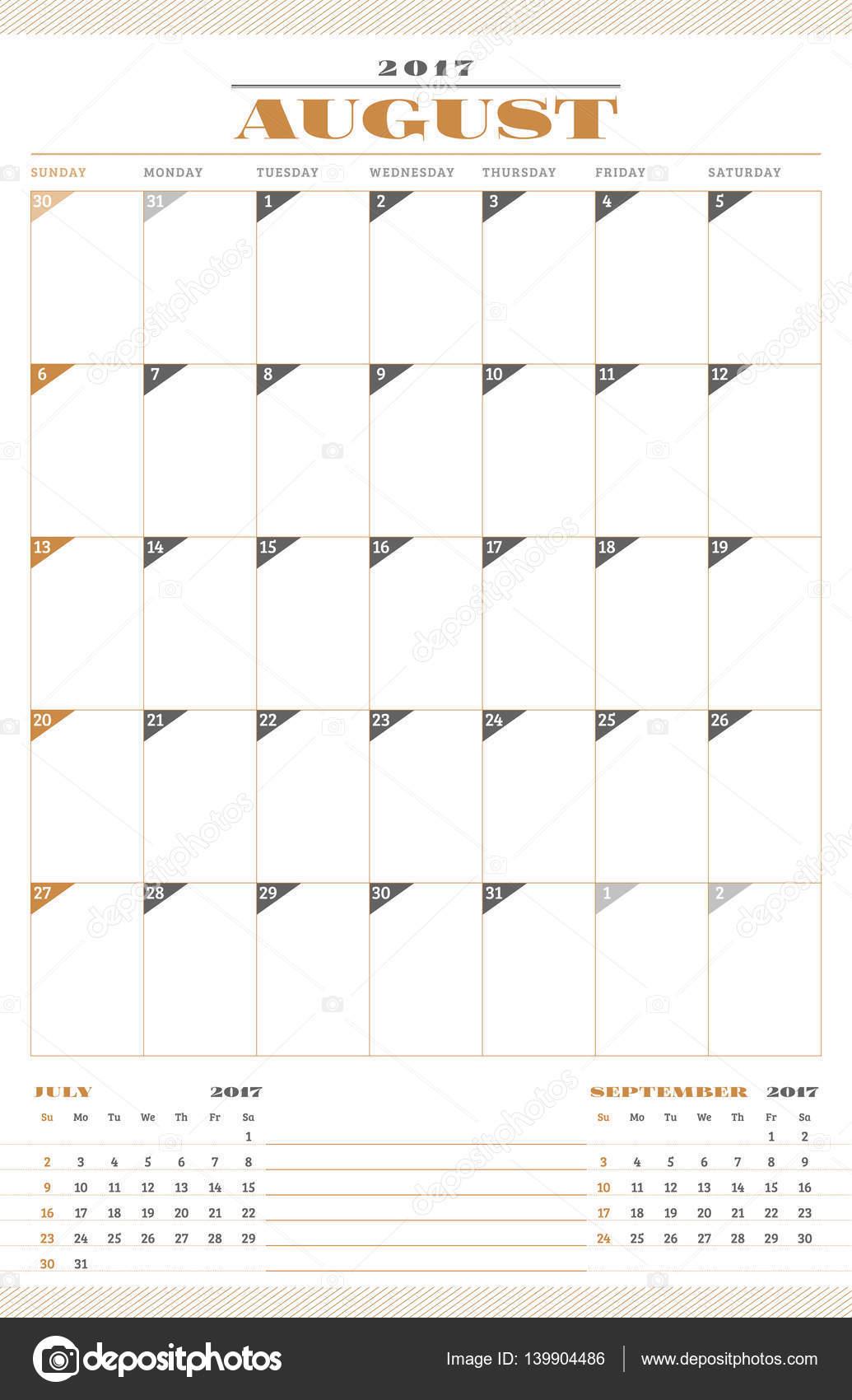Plantilla de calendario para el año 2017. En agosto. Plantilla de ...