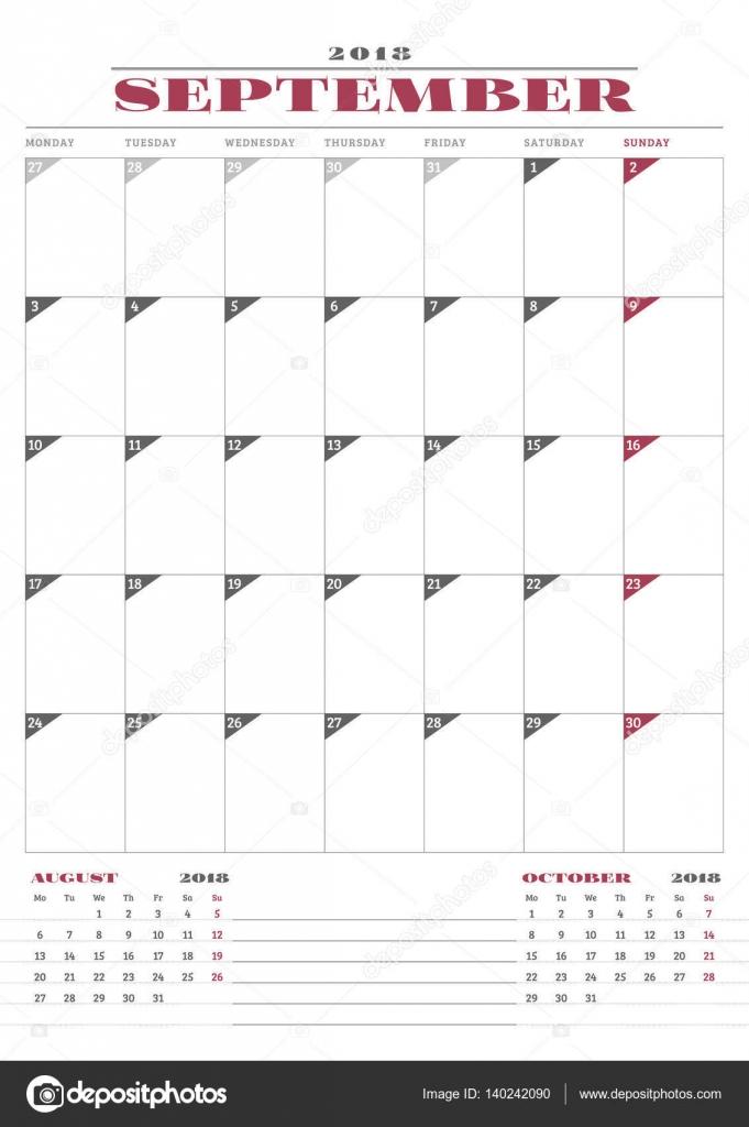 calendar planner template for 2018 year september business