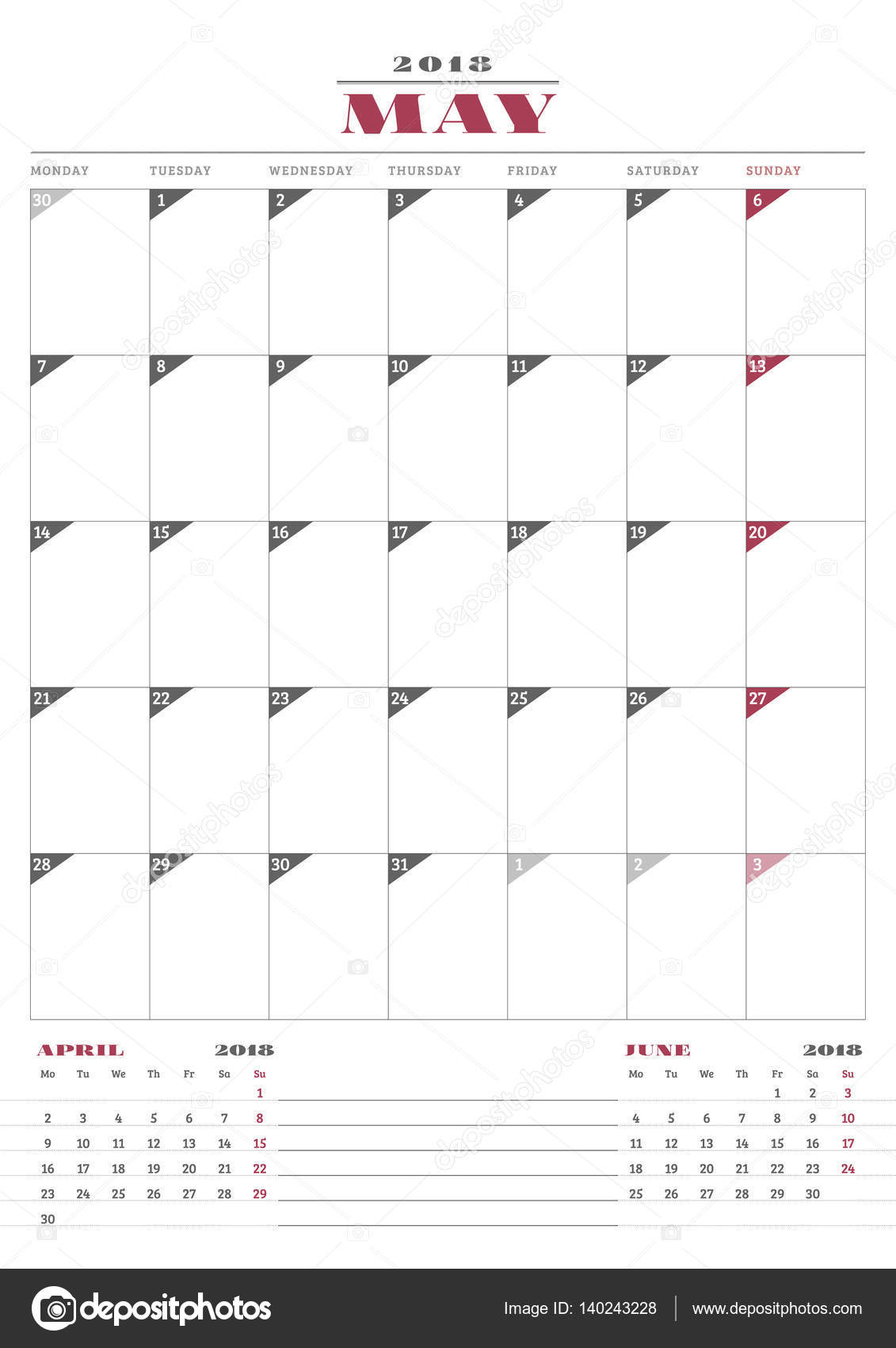 Calendar Planner Template For 2018 Year May Business Stationery