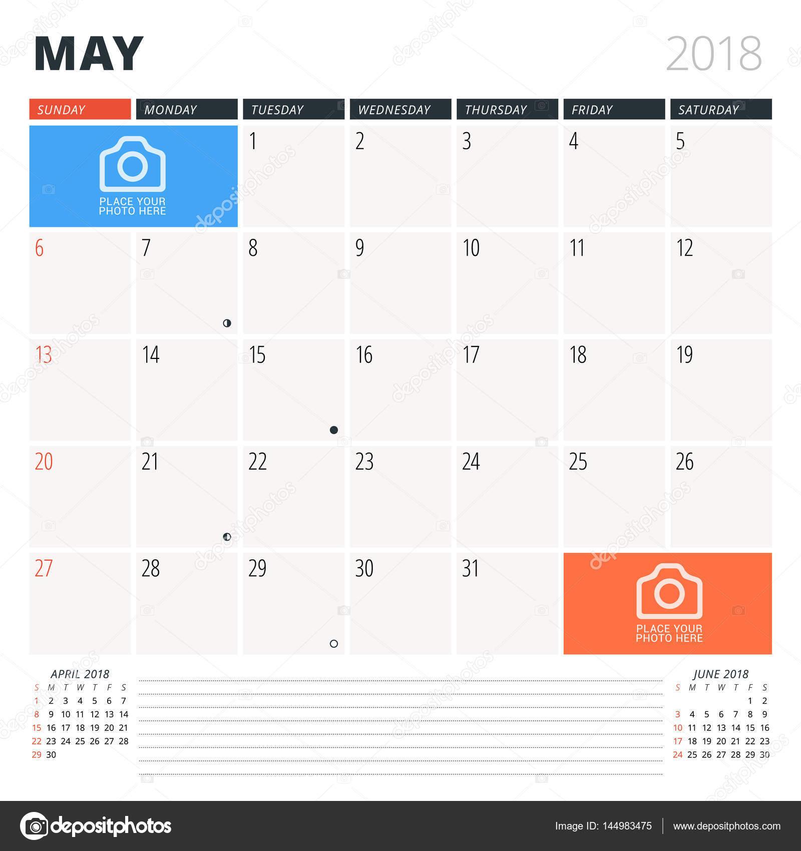 Calendrier Planificateur Pour Mai 2018 Modele De Conception La