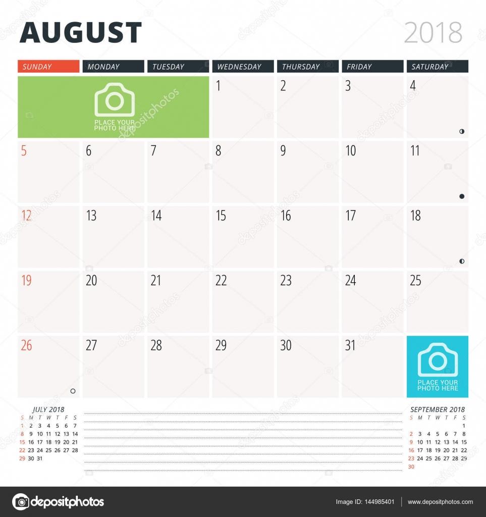 Calendario planificador para agosto de 2018. Plantilla de diseño. La ...