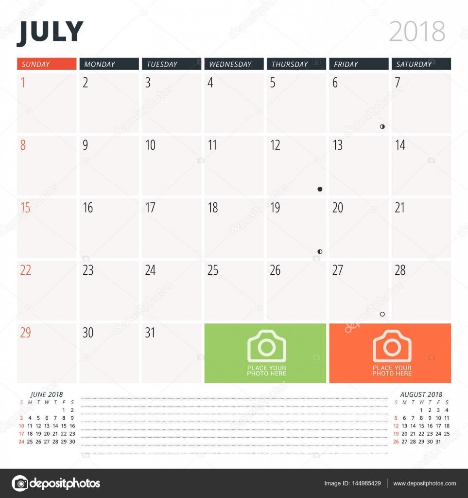 Calendario planificador para julio de 2018. Plantilla de diseño. La ...