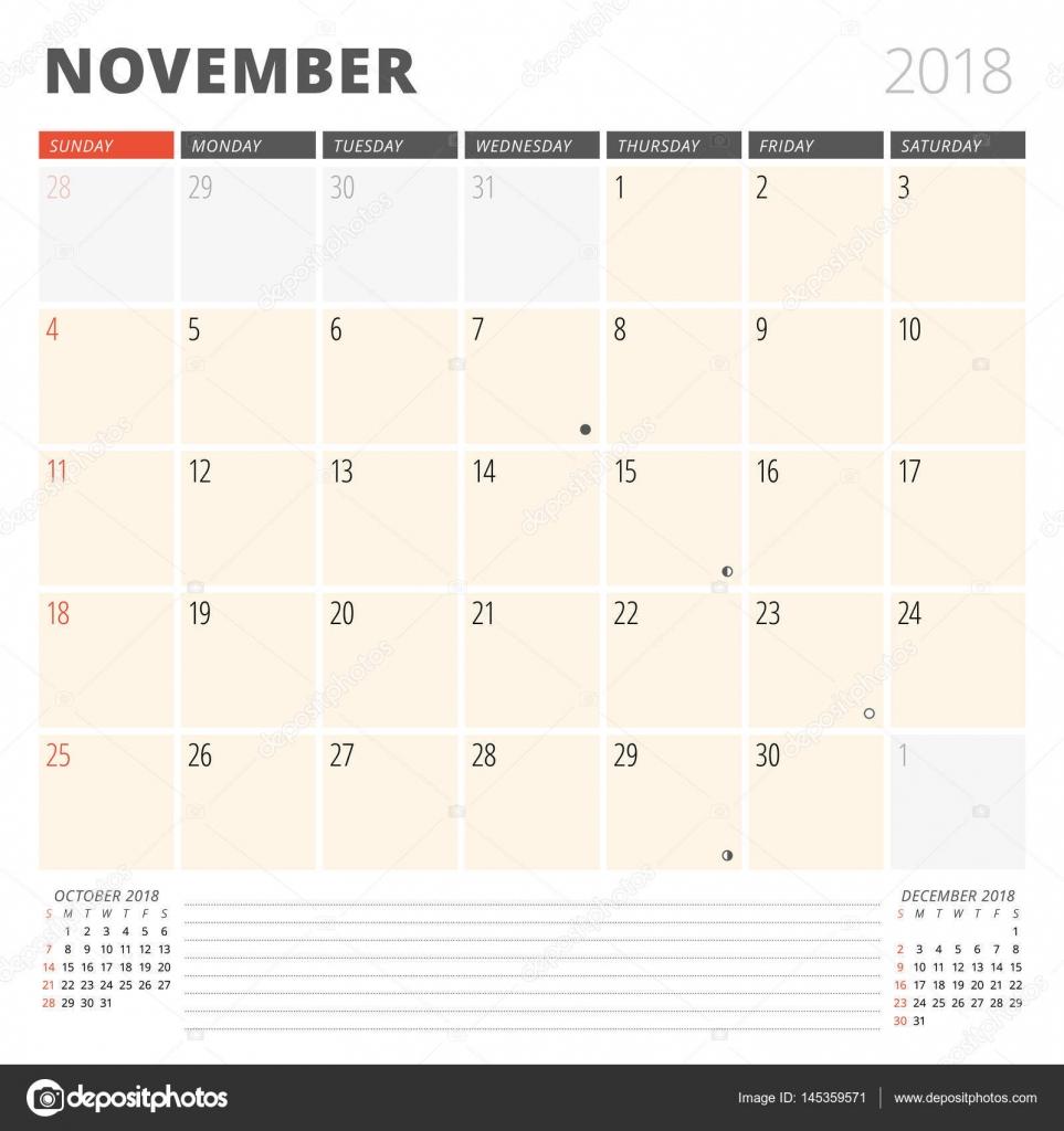 Kalender Planer für November 2018. Design-Vorlage. Woche beginnt am ...
