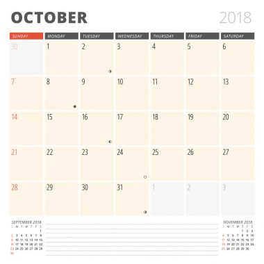 Calendar Planner for October 2018. Design Template. Week Starts on Sunday. 3 Months on the Page
