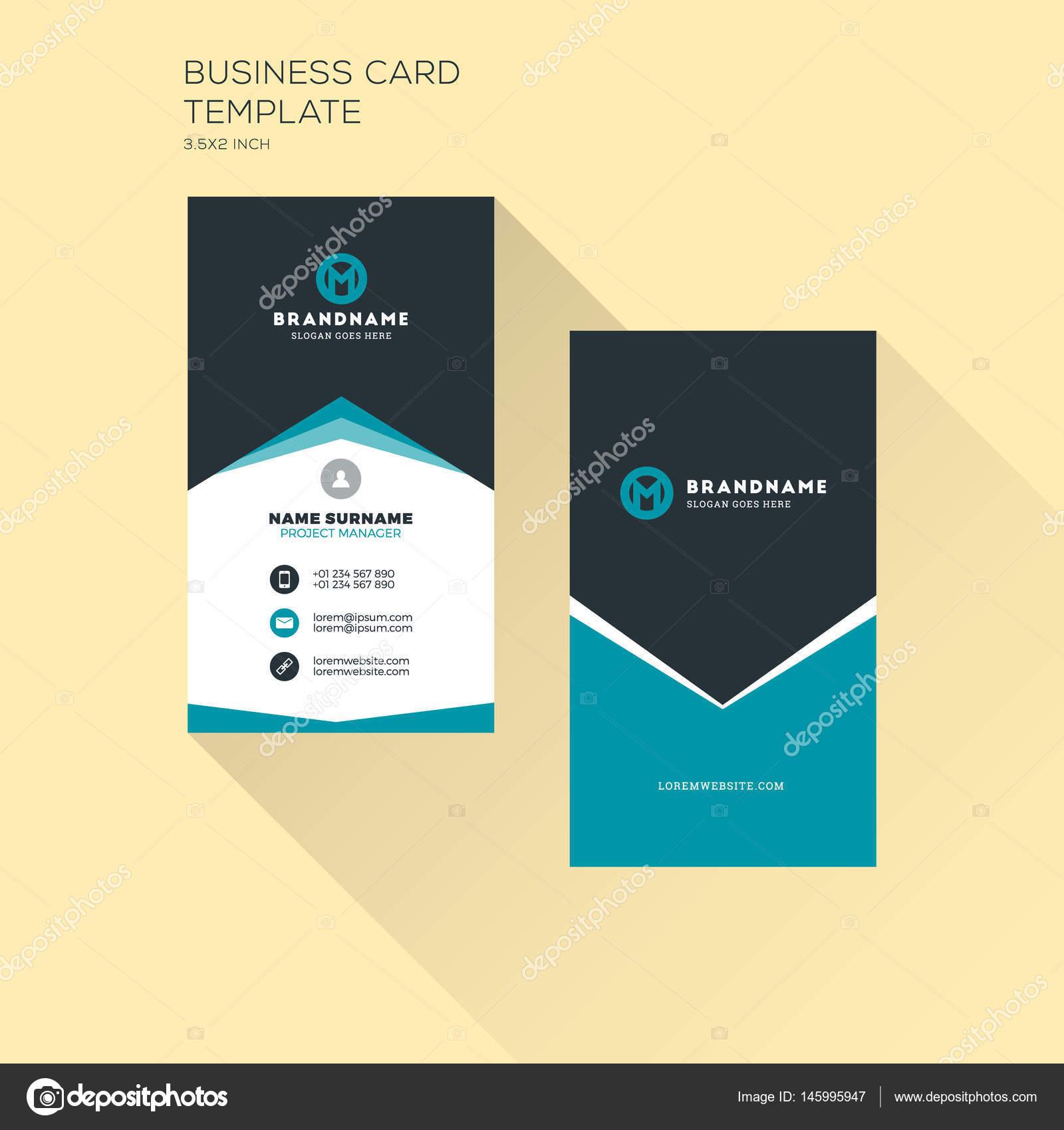 Carte De Visite Verticale Modele Dimpression Personnelle Avec Logo Lentreprise Design Propre Plat