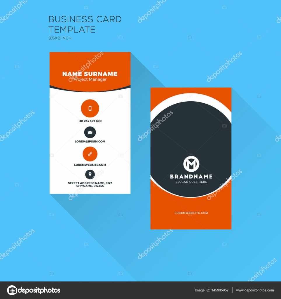 Vertical business card print template personal visiting card with vertical business card print template personal visiting card with company logo clean flat design cheaphphosting Gallery